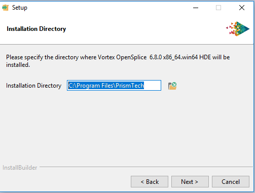Vortex OpenSplice installer choosing the directory