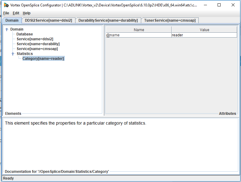 OpenSplice configuration with statistics value added