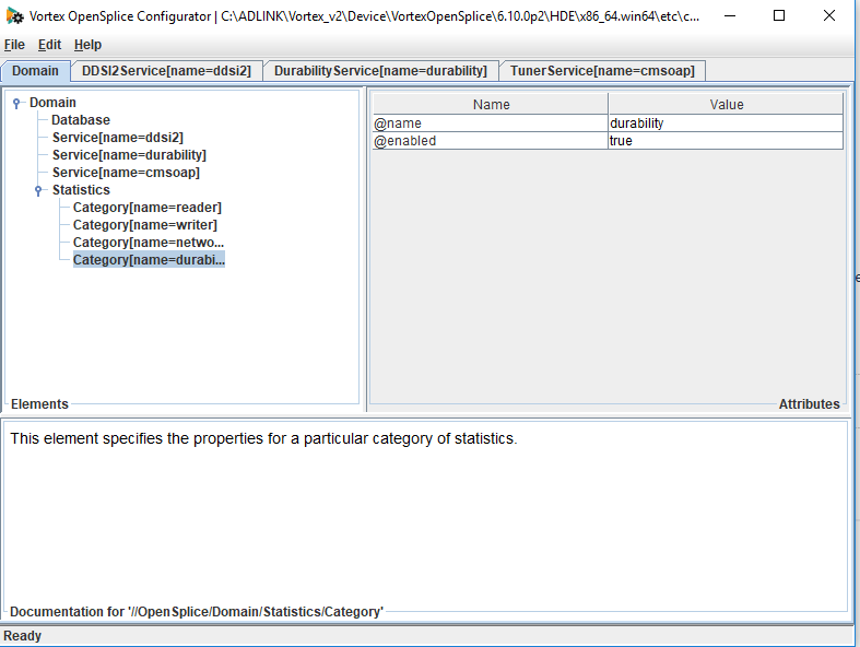 OpenSplice configuration tool showing statistics enabled option